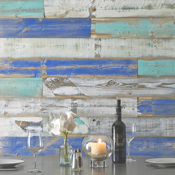 Wind River reclaimed wood used in a coastal motif.