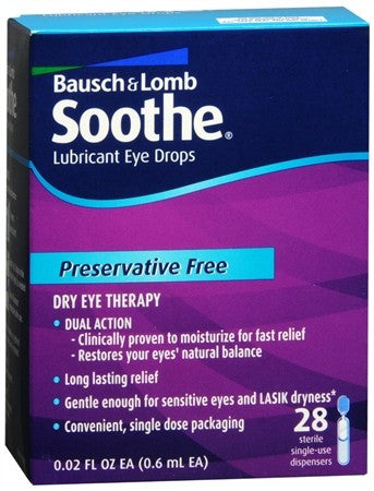 Bausch + Lomb Soothe Lubricant Eye Drops Single-Use Dispensers 28 Pack - 0.56 oz