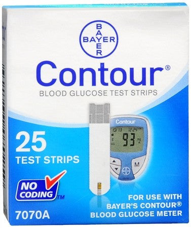 Contour Blood Glucose Test Strips - 25 ea