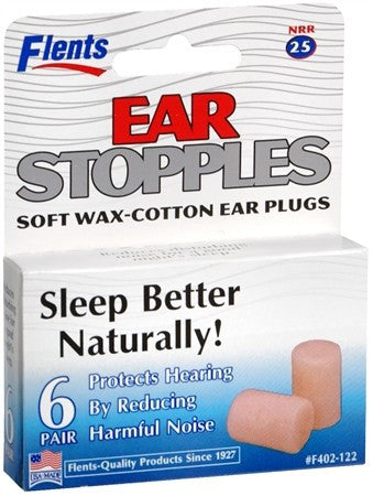 Flents Ear Stopples Soft Wax Cotton Ear Plugs 6 pair - 6 pr