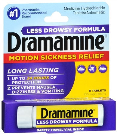 Dramamine Motion Sickness Relief Tablets Less Drowsy Formula - 8 tabs