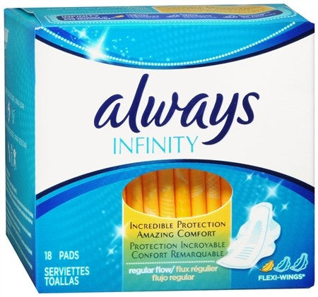 Always Infinity Flexi-Wings Pads Regular Flow - 18 ea
