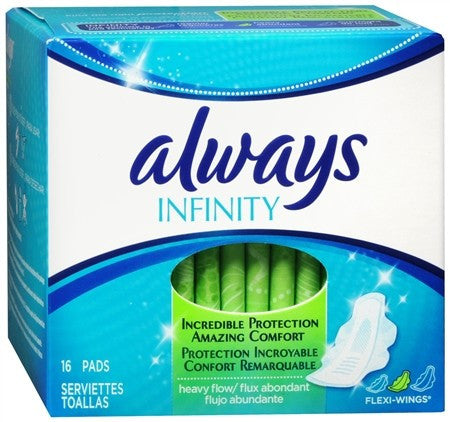 Always Infinity Flexi-Wings Pads Heavy Flow - 16 ea