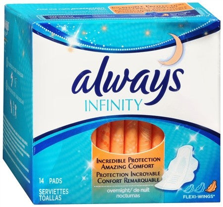 Always Infinity Flexi-Wings Pads Overnight - 14 ea