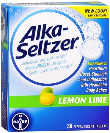 Alka-Seltzer Effervescent Tablets Lemon Lime - 36 tabs