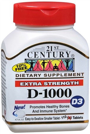 21st Century D3-1000 IU Tablets High Potency - 110 tabs