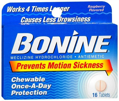 Bonine Chewable Tablets Raspberry Flavored - 16 tabs