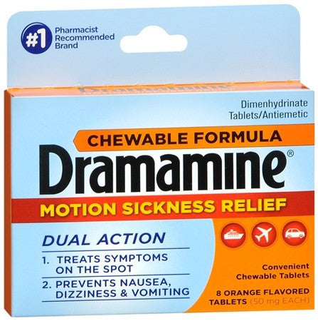 Dramamine Motion Sickness Relief Chewable Tablets Orange Flavored - 8 tabs