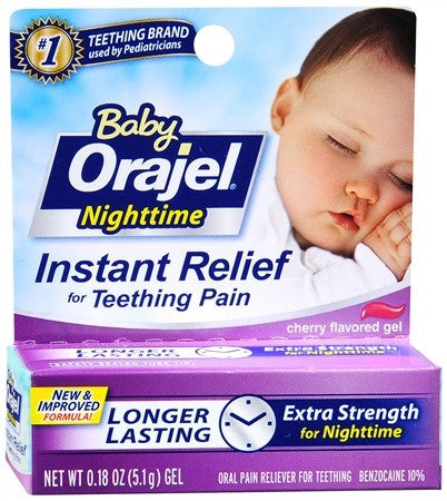 Baby Orajel Nighttime Pain Reliever for Teething Gel Cherry Flavored - 0.18 oz