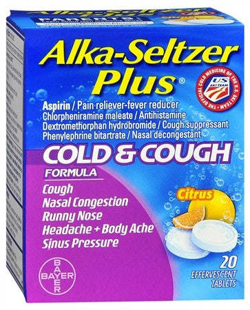 Alka-Seltzer Plus Cold & Cough Formula Effervescent Tablets Citrus - 20 tabs