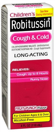 Robitussin Children's Cough & Cold Long-Acting Liquid Fruit Punch Flavor - 4 oz