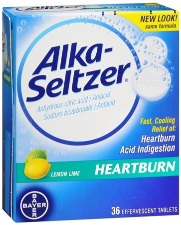 Alka-Seltzer Heartburn Relief Effervescent Tablets Lemon Lime - 36 tabs