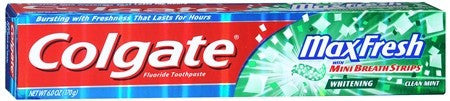 Colgate MaxFresh Whitening Toothpaste With Mini Breath Strips Clean Mint - 6 oz