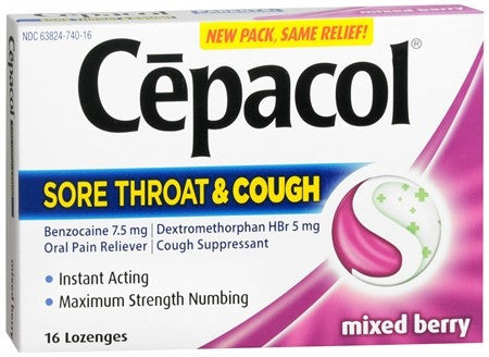 Cepacol Extra Strength Sore Throat & Cough Lozenges Mixed Berry - 16 ea