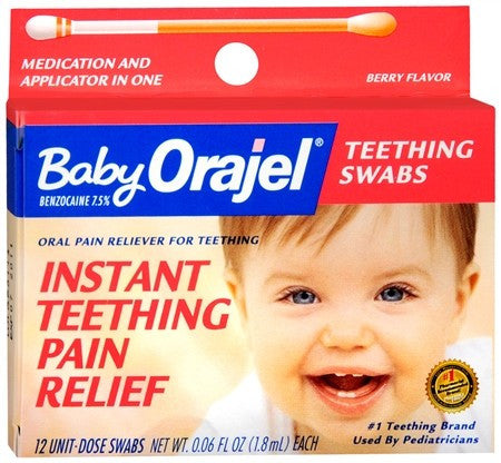Baby Orajel Oral Pain Reliever for Teething Swabs Berry Flavor - 12 ea