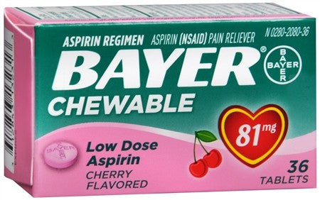 Bayer Low Dose Aspirin 81 mg Chewable Tablets Cherry Flavored - 36 tabs