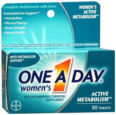 One A Day Women's Active Metabolism Multivitamin/Multimineral Supplement Tablets - 50 tabs
