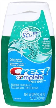 Crest Complete Fluoride Toothpaste + Scope Liquid Gel Minty Fresh - 4.6 oz