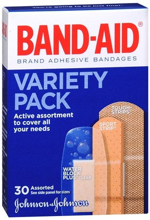 BAND-AID Adhesive Bandages Variety Pack Assorted Sizes - 30 ea