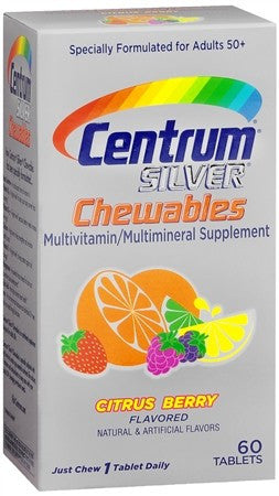 Centrum Silver Adults 50+ Chewables Tablets Citrus Berry Flavored - 60 tabs