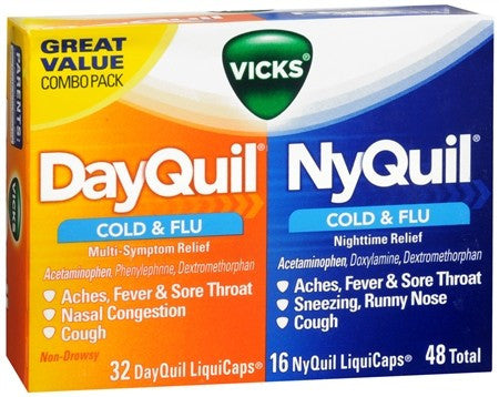 Vicks DayQuil/NyQuil Cold & Flu Multi-Symptom/Nighttime Relief LiquiCaps - 48 caps
