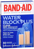 BAND-AID Water Block Plus Clear Adhesive Bandages Assorted Sizes - 30 ea