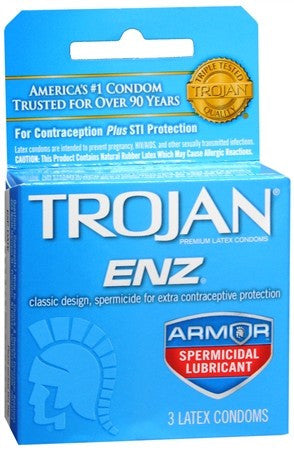 Trojan ENZ Spermicidal Lubricant Latex Condoms - 3 ea