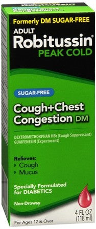 Robitussin Adult Cough + Chest Congestion DM Liquid Sugar-Free - 4 oz