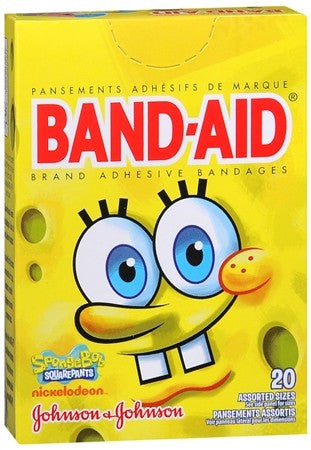 BAND-AID Adhesive Bandages SpongeBob SquarePants Assorted Sizes - 20 ea