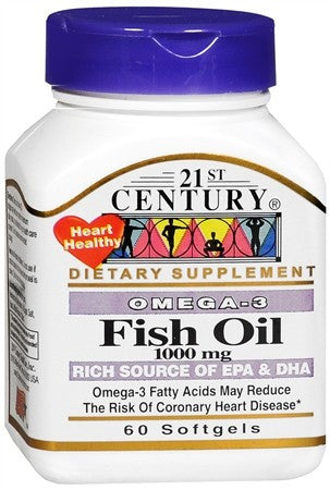 21st Century Omega-3 Fish Oil 1000 mg Softgels - 60 caps