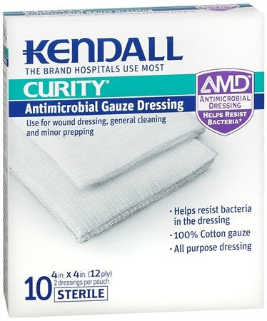 Kendall CURITY Antimicrobial Gauze Dressing 4 Inches x 4 Inches - 20 ea