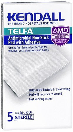 "Kendall TELFA Antimicrobial Non-Stick Pads With Adhesive 4"" x 8"" - 5 ea"