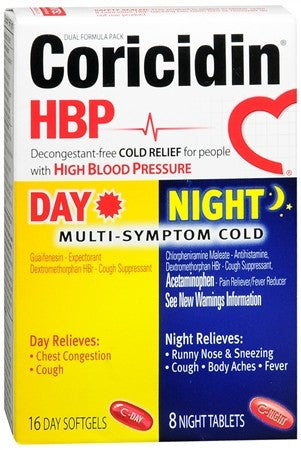 Coricidin HBP Day/Night Multi-Symptom Cold Softgels/Tablets - 24 tabs