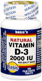 Basic Vitamins Natural Vitamin D-3 2000 IU Tablets - 200 tabs