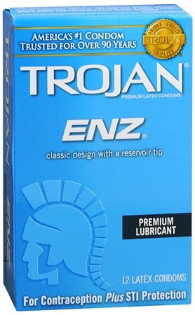 Trojan ENZ Premium Lubricant Latex Condoms - 12 ea