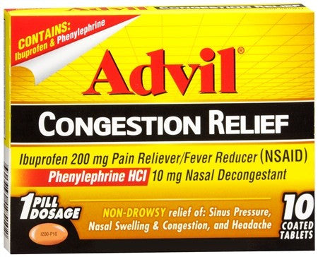 Advil Congestion Relief Coated Tablets - 10 tabs
