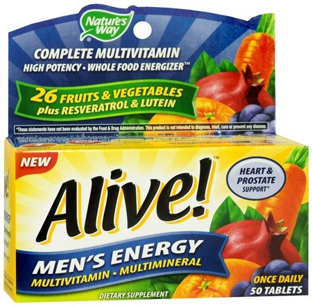 Nature's Way Alive! Multivitamin Multimineral Tablets Men's Energy - 50 tabs