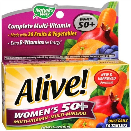 Nature's Way Alive! Women's 50+ Multi-Vitamin Multi-Mineral Tablets - 50 tabs
