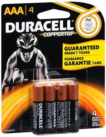Duracell Coppertop Alkaline Batteries AAA - 4 ea
