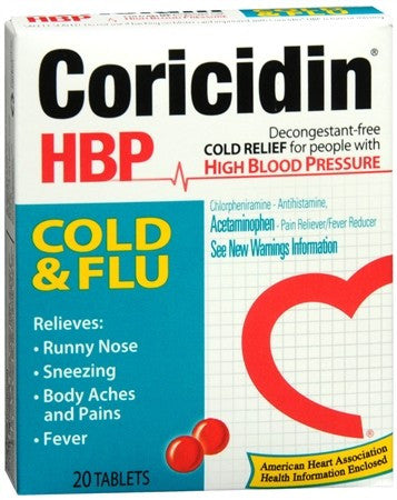 Coricidin HBP Cold and Flu Tablets - 20 tabs