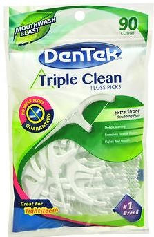 DenTek Triple Clean Floss Picks Fresh Mint - 90 ea