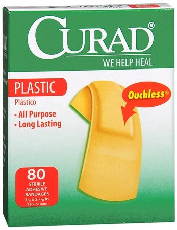Curad Plastic Bandages 3/4 Inch x 2-7/8 Inches - 80 ea
