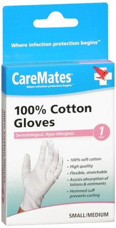 CareMates 100% Cotton Gloves Small/Medium - 1 pr
