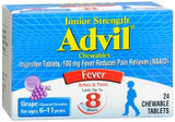 Advil Fever Reducer/Pain Reliever Chewable Tablets Junior Strength Grape Flavored - 24 tabs