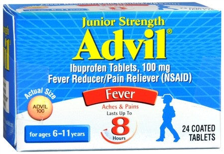 Advil Fever Reducer/Pain Reliever Coated Tablets Junior Strength - 24 tabs