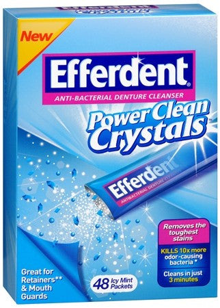 Efferdent Anti-Bacterial Denture Cleanser Power Clean Crystals Packets Icy Mint - 48 ea