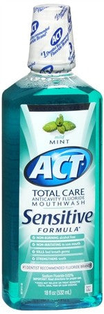 ACT Total Care Anticavity Fluoride Mouthwash Sensitive Formula Mint - 18 oz