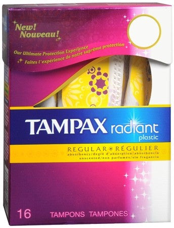 Tampax Radiant Tampons with Plastic Applicators Unscented Regular Absorbency - 16 ea