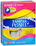 Tampax Pearl Tampons with Plastic Applicators Regular Absorbency Fresh Scent - 18 ea