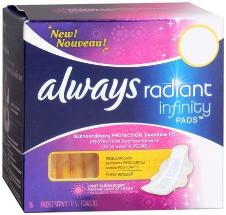 Always Radiant Infinity Pads Regular Flow with Flexi-Wings Light Clean Scent - 16 ea
